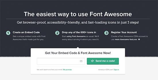 Font Awesome-dən gönder kodu alın