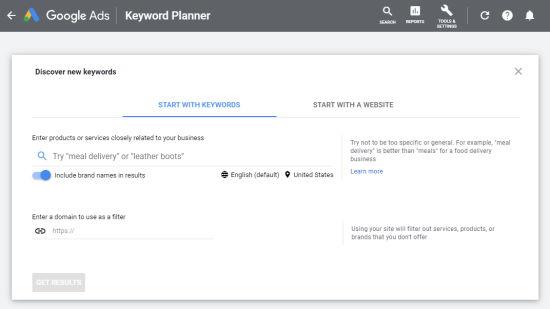 Ingrese una palabra clave en el Planificador de palabras clave de Google