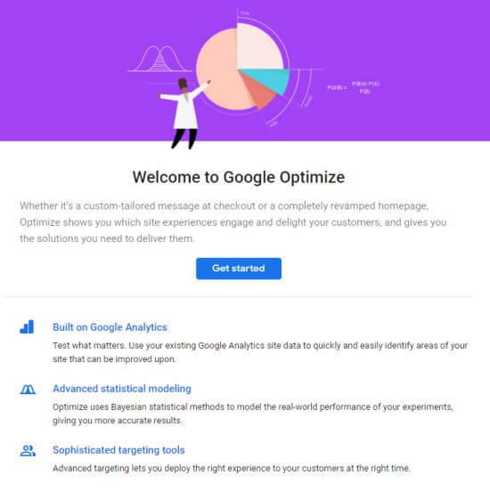 Google Optimize Başlama düyməsinə ilə xoş gəlmisiniz