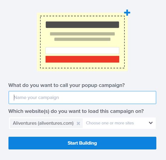 Kupon açma kampaniyanıza ad verin və onu işlətmək üçün sayt seçin