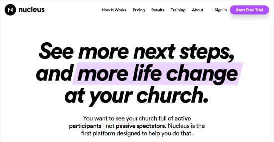 Nucleus Site Builder para iglesias