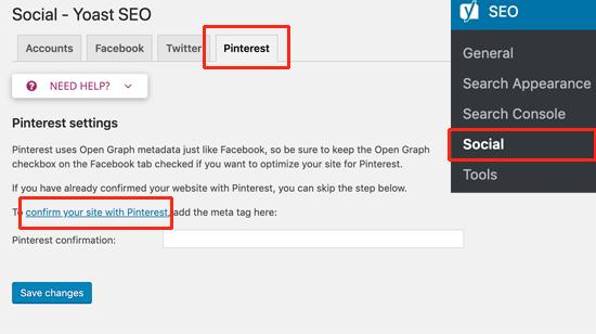 Lisää vahvistuskoodi Pinterest sivustoosi