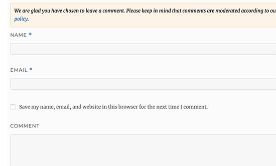 Hapus bidang URL dari formulir komentar