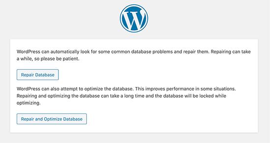 Sửa chữa cơ sở dữ liệu WordPress