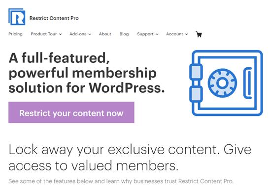El sitio web Restrict Content Pro