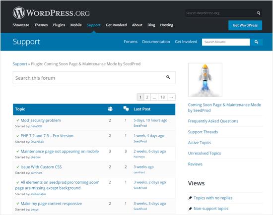 SeedProd Próximamente Página de soporte de complementos
