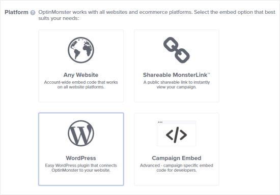 Kuponun açılması üçün platforma olaraq WordPress seçin