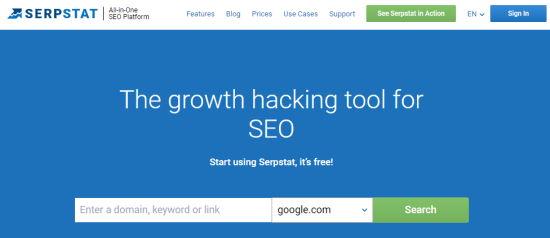 La página principal de la herramienta Serpstat