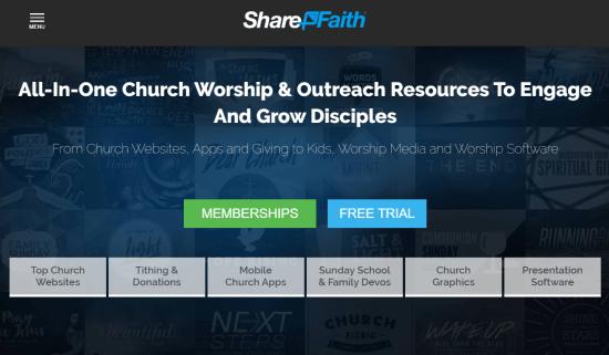 Sharefaith church site creator