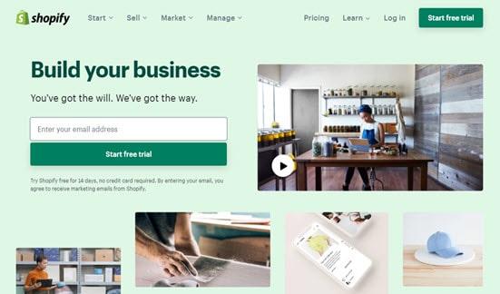 El sitio web de Shopify