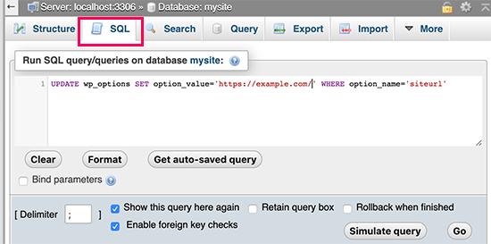 Chạy SQL bằng phpMyAdmin