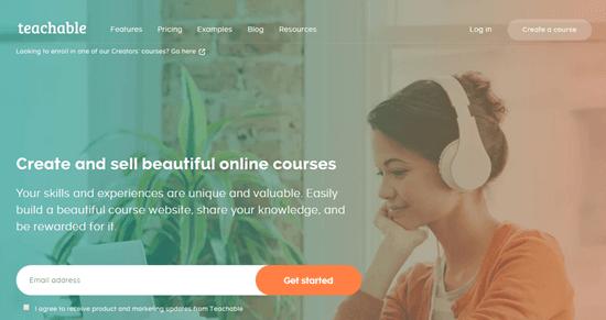 El sitio web de Teachable