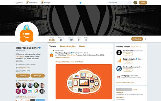 Käyttäjän profiilisivu Twitter näyttää kansilehden, profiilikuvan ja kuvan jaon