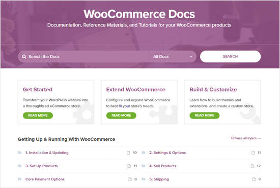Documentos de WooCommerce para soporte
