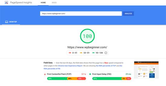 Prueba de velocidad de página de Google WPBeginner