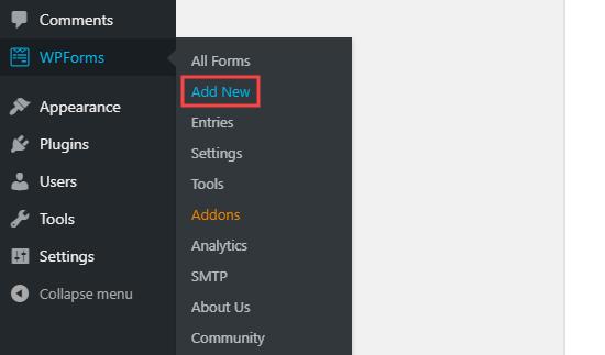 WPForms ilə yeni bir forma yaradın