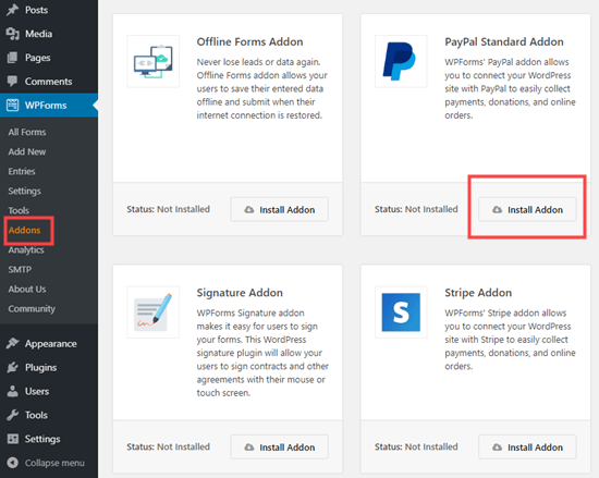 WPForms üçün PayPal plaginini quraşdırın