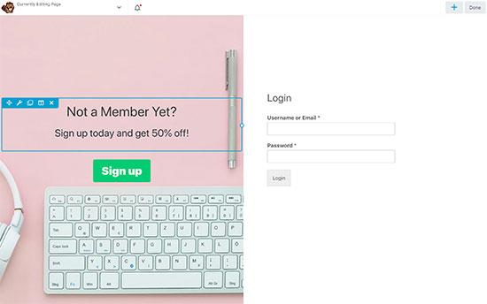 Utwórz stronę docelową dla formularza logowania