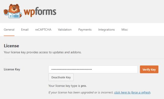 WPForms üçün lisenziya açarınız daxil edilir