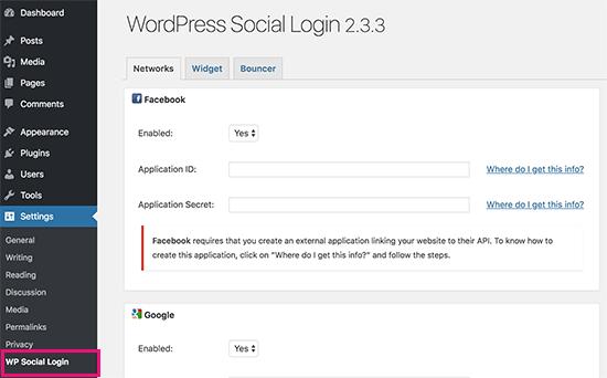 Pengaturan Login Sosial WP
