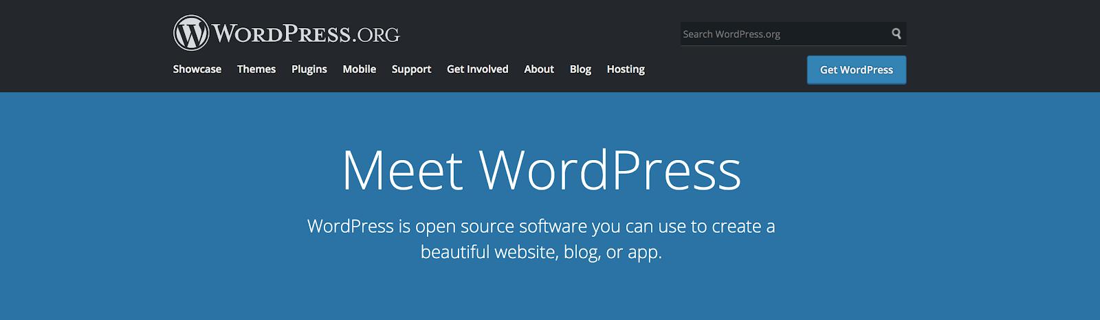 Diferencia entre WordPress.org y WordPress.com Página de inicio de WordPress.org