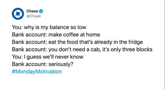 Chase tuiteó sobre los hábitos de gasto.