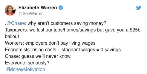 """Elizabeth Warren responde al tuit de chase fail """"srcset ="""" https://blog.hubspot.com/hs-fs/hubfs/image-3785.png?width=246&name=image-3785.png 246w, https: // blog. hubspot.com/hs-fs/hubfs/image-3785.png?width=492&name=image-3785.png 492w, https://blog.hubspot.com/hs-fs/hubfs/image-3785.png?width = 738 & name = image-3785.png 738w, https://blog.hubspot.com/hs-fs/hubfs/image-3785.png?width=984&name=image-3785.png 984w, https: //blog.hubspot .com / hs-fs / hubfs / image-3785.png? width = 1230 & name = image-3785.png 1230w, https://blog.hubspot.com/hs-fs/hubfs/image-3785.png?width= 1476 & name = image-3785.png 1476w """"tamaños ="""" (ancho máximo: 492px) 100vw, 492px"""