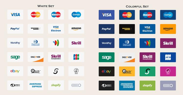 Méthode de paiement gratuite icônes vectorielles eps png