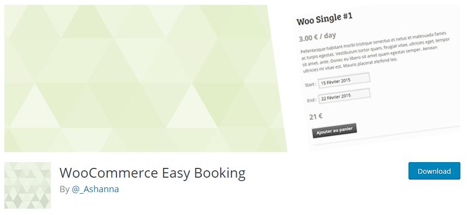 Complementos de reserva de WooCommerce Easy Booking-WordPress