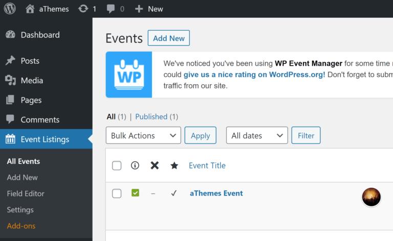 Menú de administración de WP Event Manager