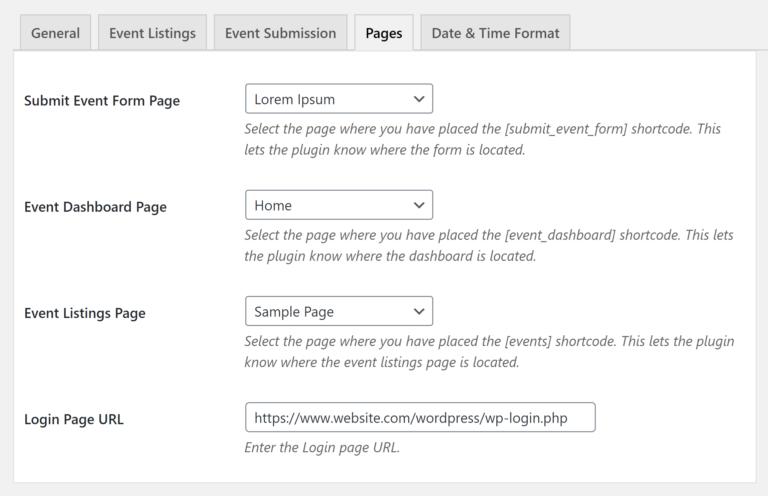 Configuración de páginas en WP Event Manager