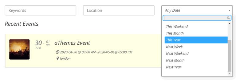 La página de listados de eventos