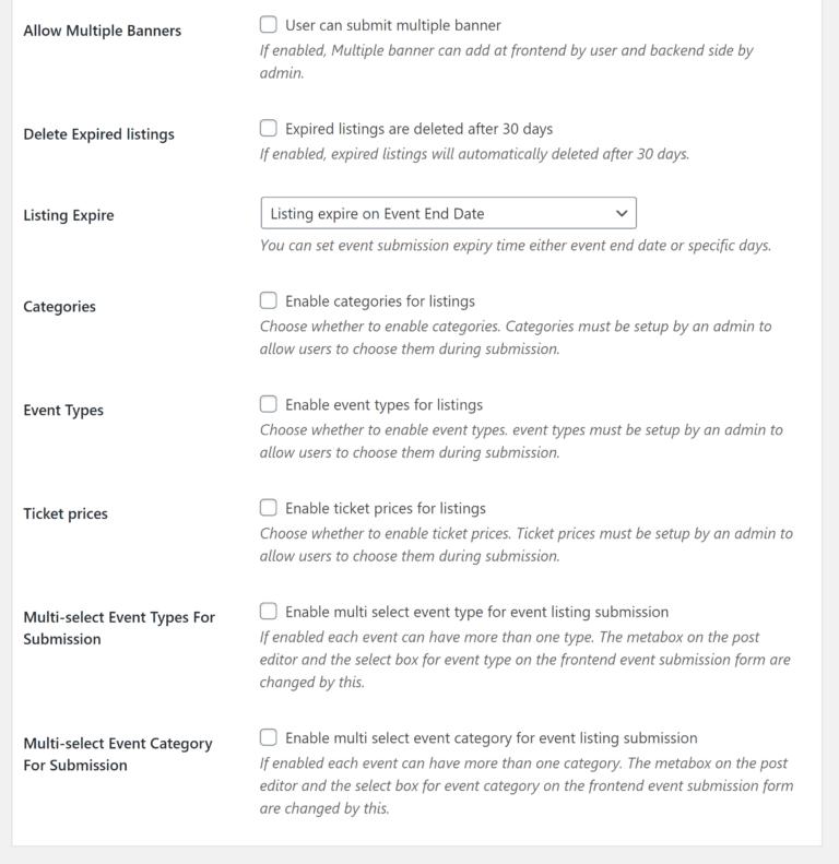 Configuración del formulario de envío de eventos