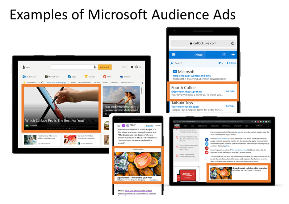 Ejemplos visuales de ubicaciones de red de Microsoft Audience para anuncios gráficos, anuncios de texto y anuncios de productos en toda la red de audiencia.