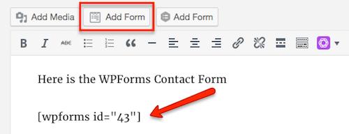 Formulario de agregar WPForms