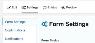 Configuración de formularios de formularios de gravedad