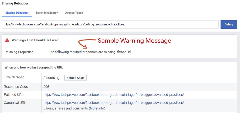 Una muestra Facebook Mensaje de advertencia para compartir el depurador