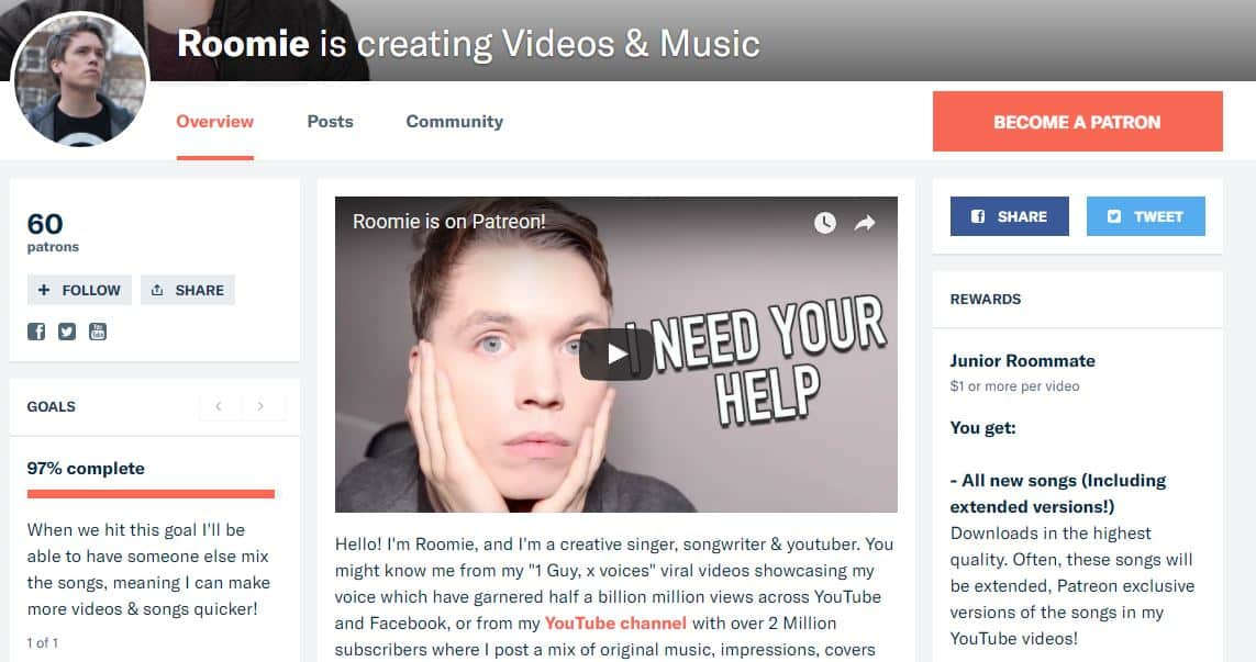 Perfil del canal de Youtube de Roomie Patreon - dinero en las redes sociales