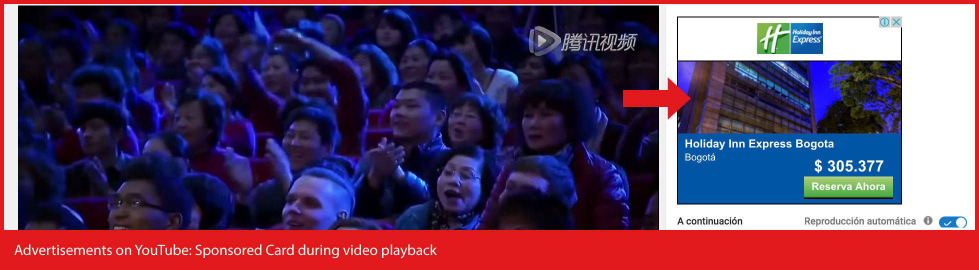 Advertisements-on-YouTube - Tarjeta patrocinada durante la reproducción de video
