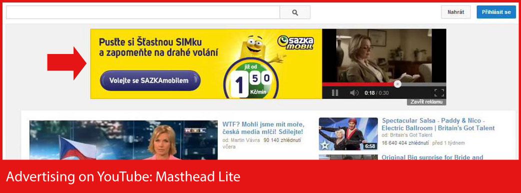 Publicidad en YouTube: Masthead-Lite