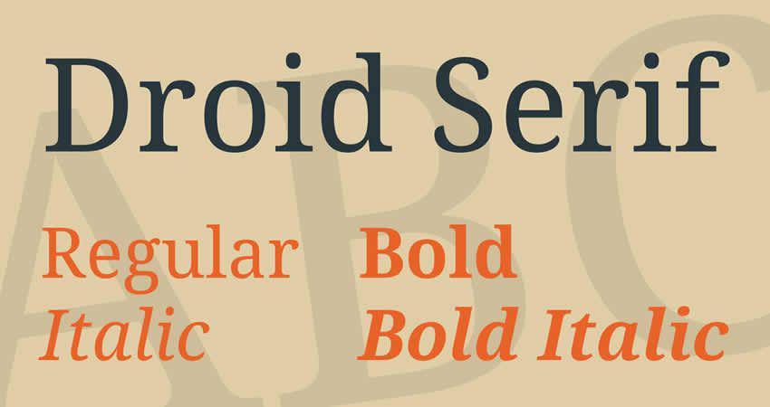 Droid Serif freie Schriftfamilie Typografie