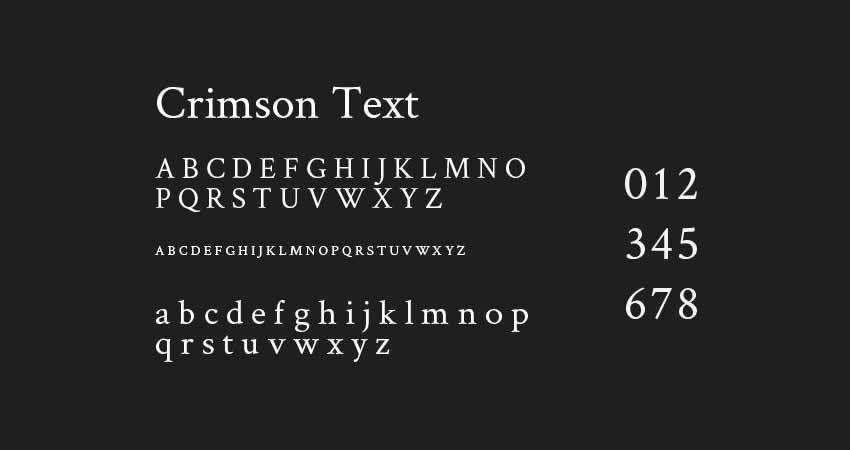 Crimson Text serif free font Schriftart