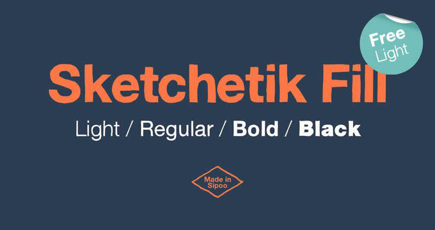 Sketchetik Fill Light serifenfreie Schriftartfamilien-Typografie