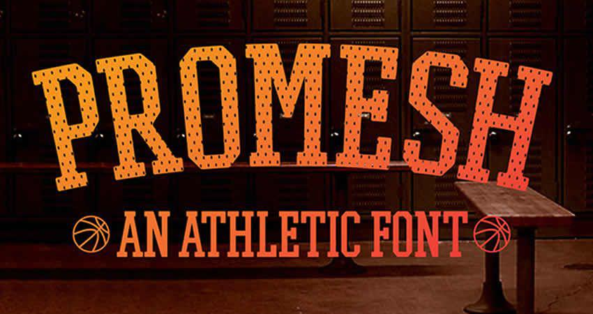Promesh Athletic Slab Free Schrift Typografie Familie