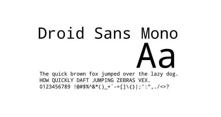 Código de tipo de letra de la familia de fuentes gratuitas Droid mono monoespaciado