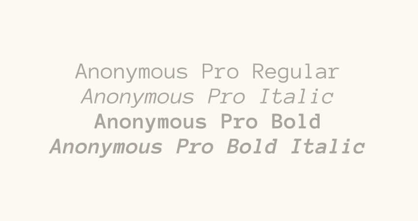 Código de tipo de letra de familia de fuente libre mono monoespaciado anónimo Pro