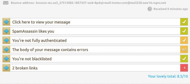 testeur de courrier plus de détails