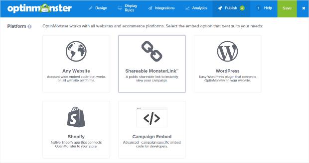 seleccione plataforma de publicación