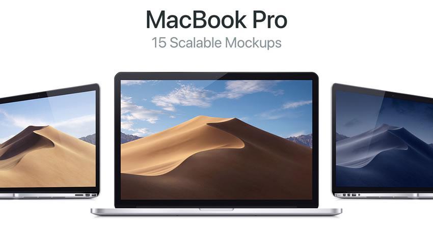 15 MacBook Pro ölçeklenebilir ücretsiz macbook mockup şablonu psd photoshop