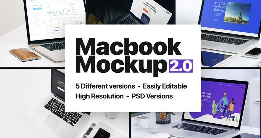 Macbook Mockup 2.0 ücretsiz macbook mockup şablonu psd photoshop